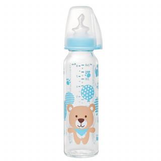Nip flašica staklena 250ml sil.cucla za mleko 0m+
