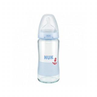 Nuk FC plus staklena flašica, silikon 240ml, 0-6m