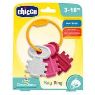 Chicco zvečka glodalica Privezak za ključeve roze