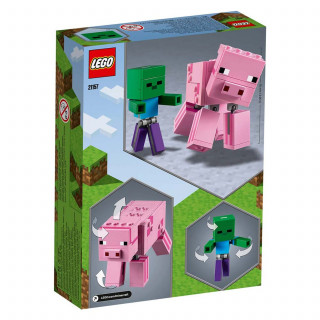 Lego Minecraft bigfig pig with baby zombie