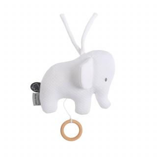 Nattou pletena muzička igračka slonče, bela