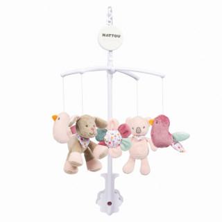 Nattou muzička vrteška sa plišanim igračkama, roze