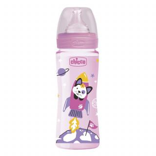 Chicco WB plastična flašica 330ml, silikon, roze