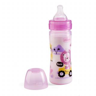 Chicco WB plastična flašica 250ml, silikon, roze