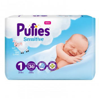 Pufies pelene sensitive 1 newborn 2-5kg  36kom