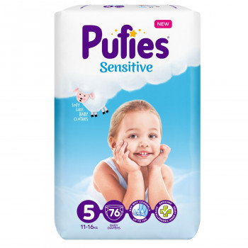 Pufies pelene sensitive BP 5 junior 11+kg 76kom