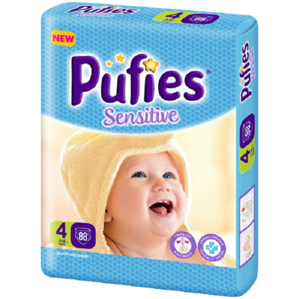 Pufies pelene sensitive BP 4 maxi 7 - 14kg 88kom