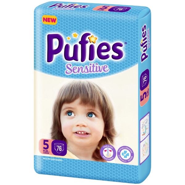 Pufies pelene sensitive box 5 junior 11+kg 74kom