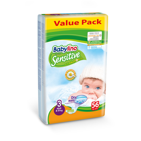 Babylino pelene sensitive VP 3 midi 4-9kg 56kom