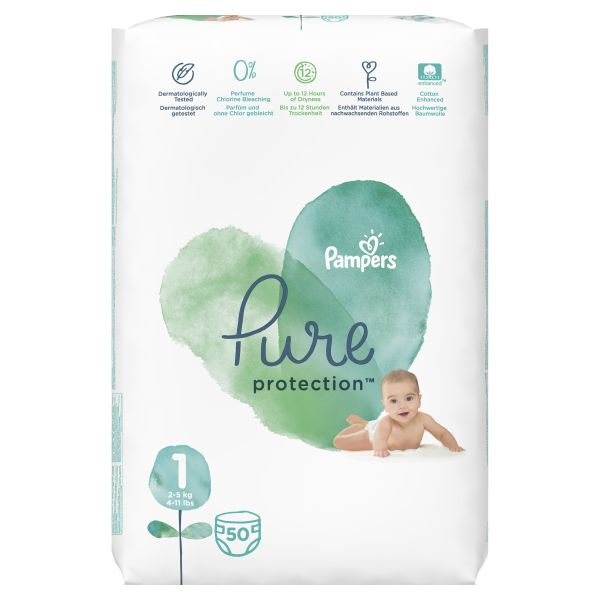 Pampers pure VP 1 new born 2-5 kg 50kom