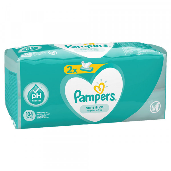 Pampers baby vlažne maramice sensitive 2x52kom