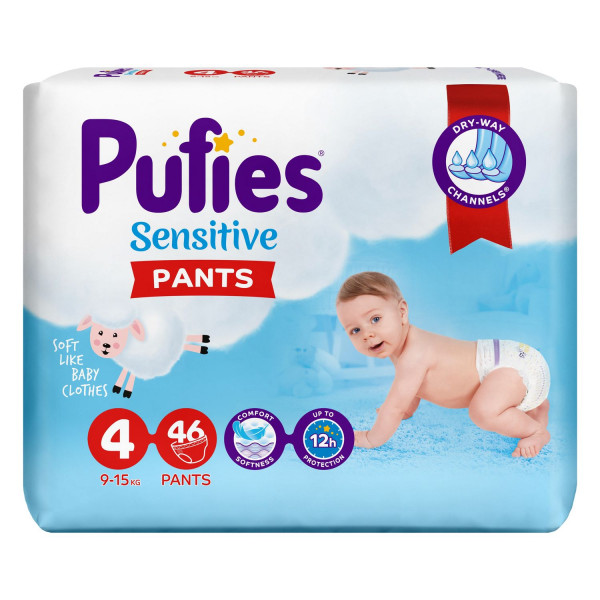 Pufies pelene pants sensitive 4 maxi 9-15kg 46kom