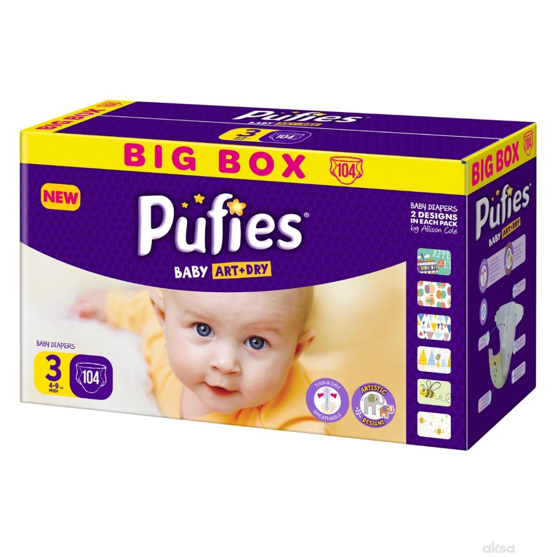 Pufies pelene baby art box 3 midi 4-9kg 104kom