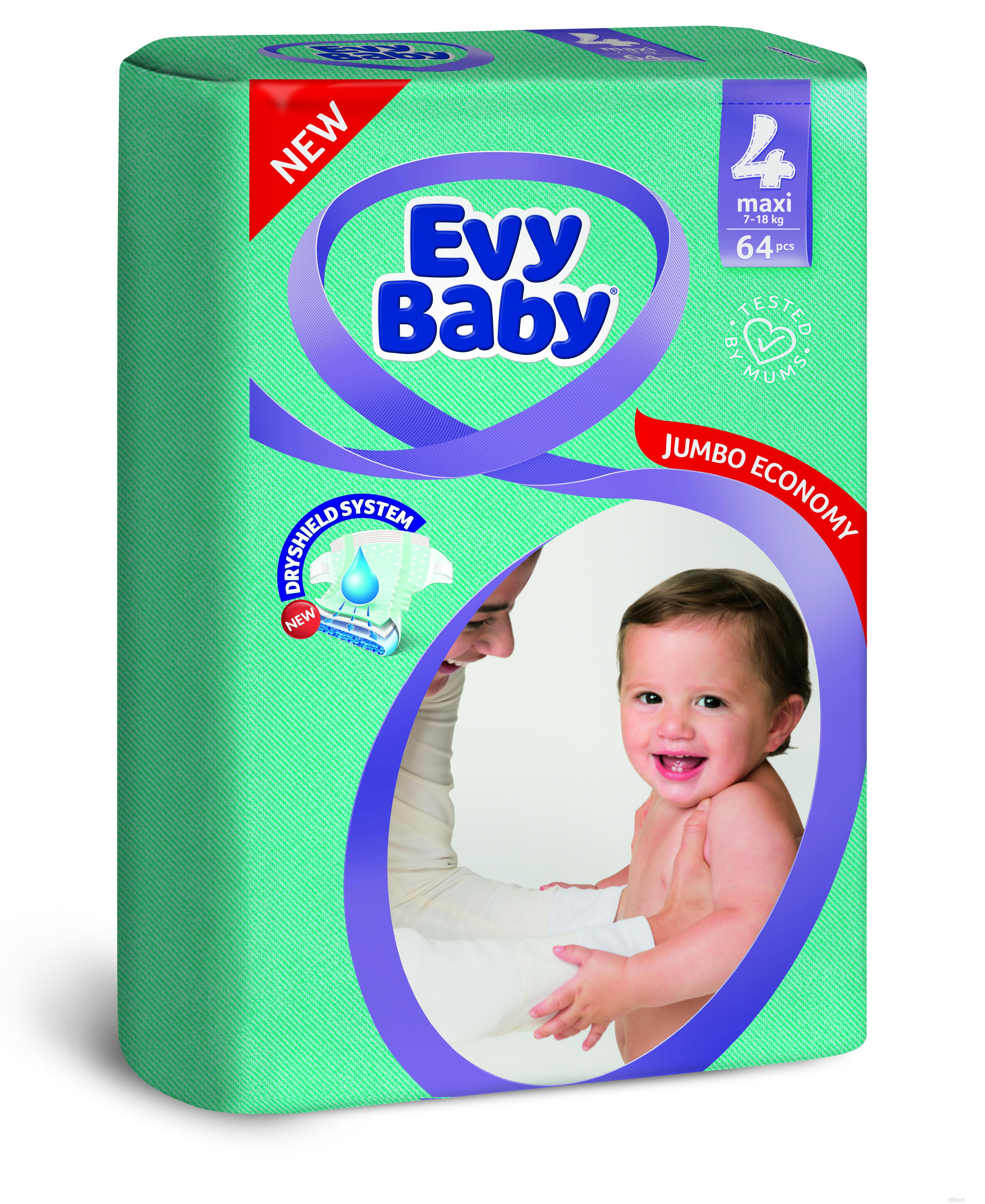 Evy baby pelene jumbo 4 maxi 8-18kg 64kom
