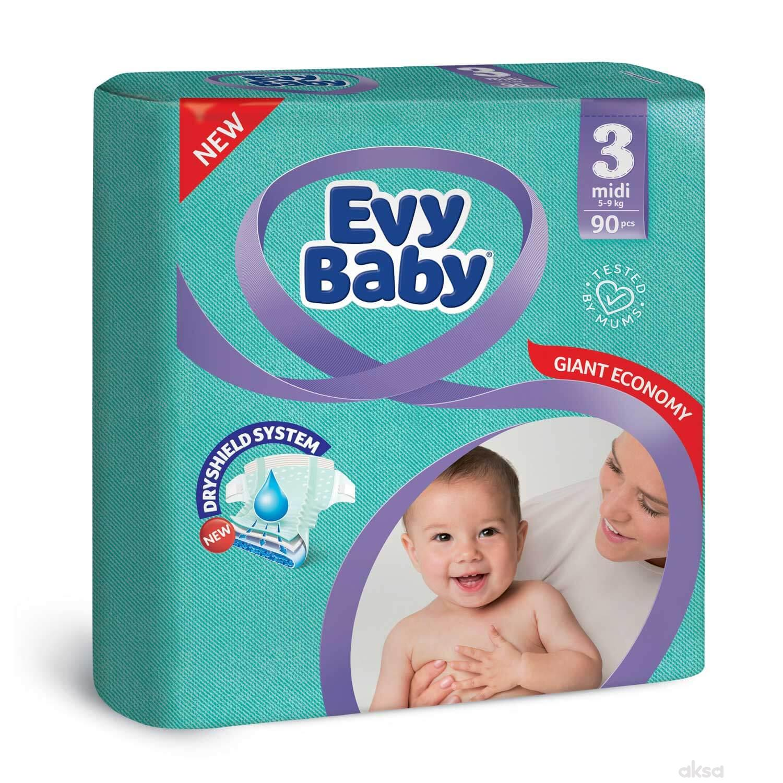 Evy baby pelene giant 3 midi 5-9kg 90kom
