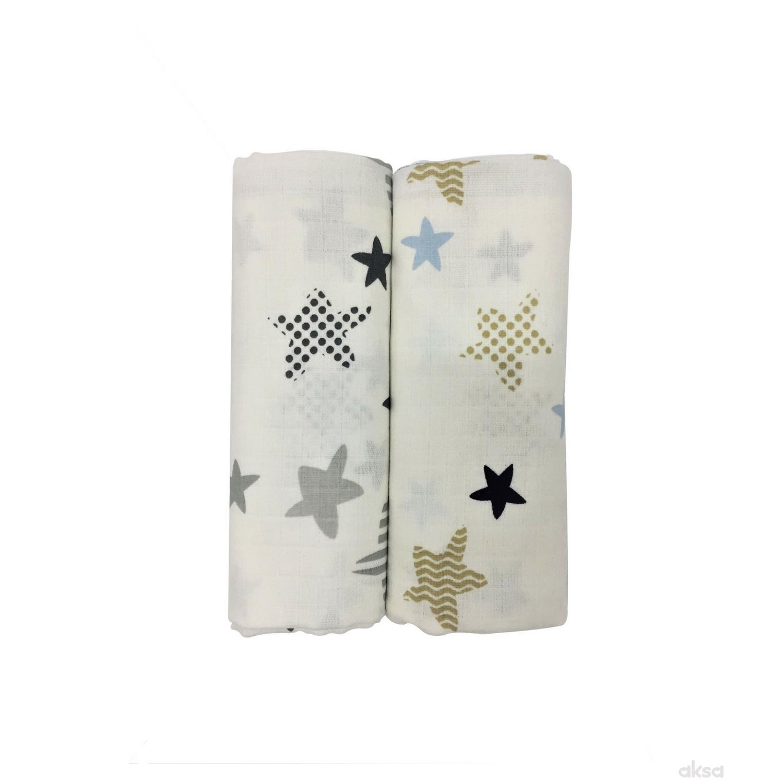 Baby Textil tetra pelena 2u1 Zvezde , 80x90cm