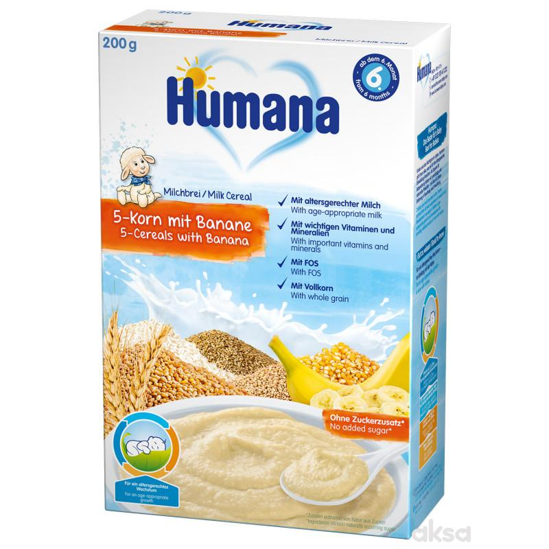 Humana mlečna ins. kaša 5 žitarica i bananom 200g