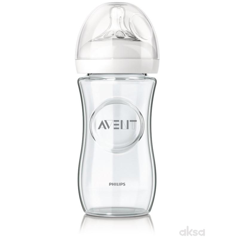Avent Natural staklena flašica, 1m+ 240ml