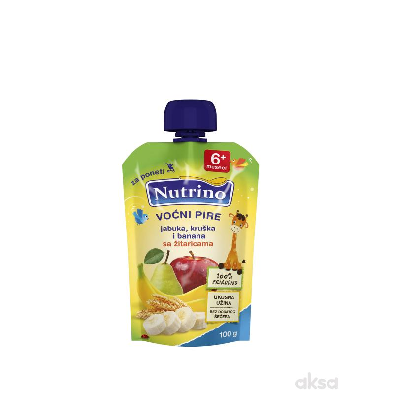 Nutrino pouch jabuka, kruška i banana sa žit. 100g