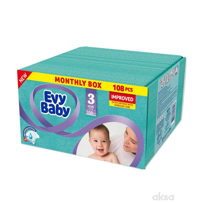 Evy baby pelene box 3 midi 5-9kg 108kom