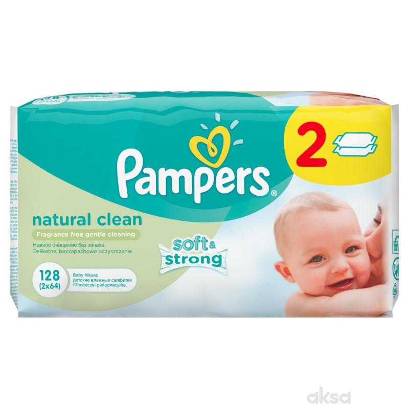 Pampers baby vlažne maramice natur clean 2x64kom