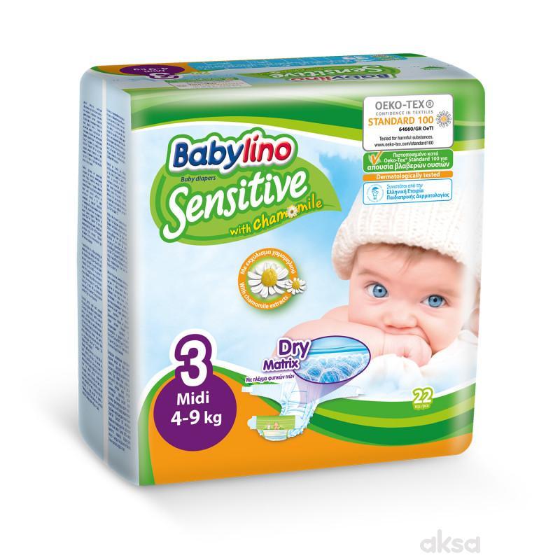 Babylino pelene sensitive 3 midi 4-9kg 22kom