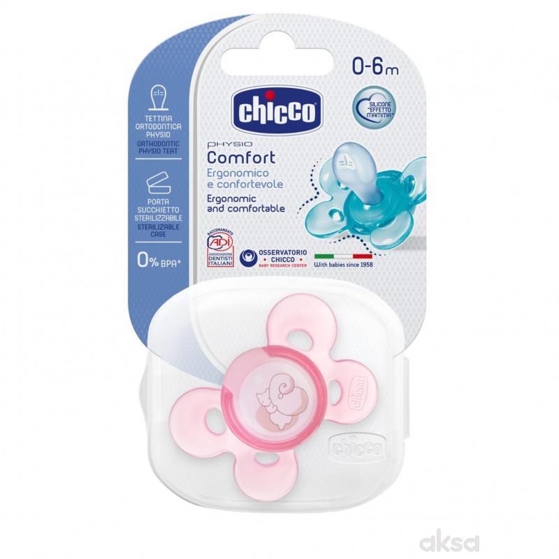 Chicco laža Giotto Comfort silikon 0-6m 1 kom roze