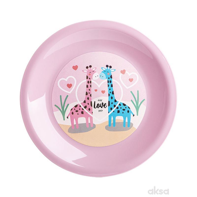 Drina tanjir luna deco - plava/roze