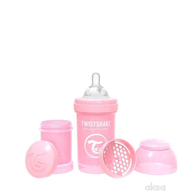 TS flašica anti-colic 180ml pastelna roze