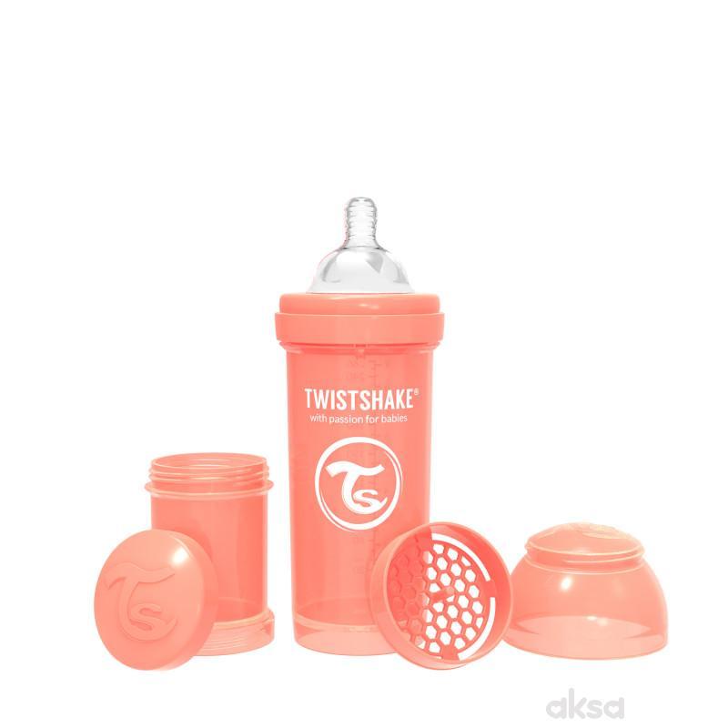 TS flašica anti-colic 260ml pastelna breskva