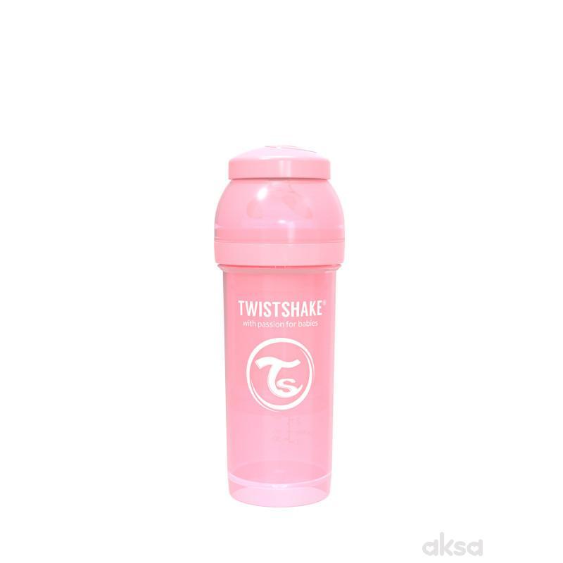 TS flašica anti-colic 260ml pastelna roze