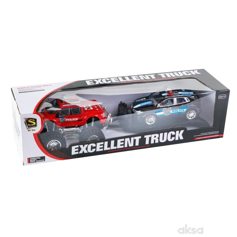 HK Mini, igračka, džip sa prikolicom i autom