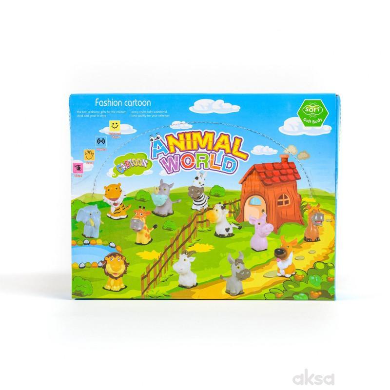 Hk Mini igračka gumene životinje u displej, 6 kom