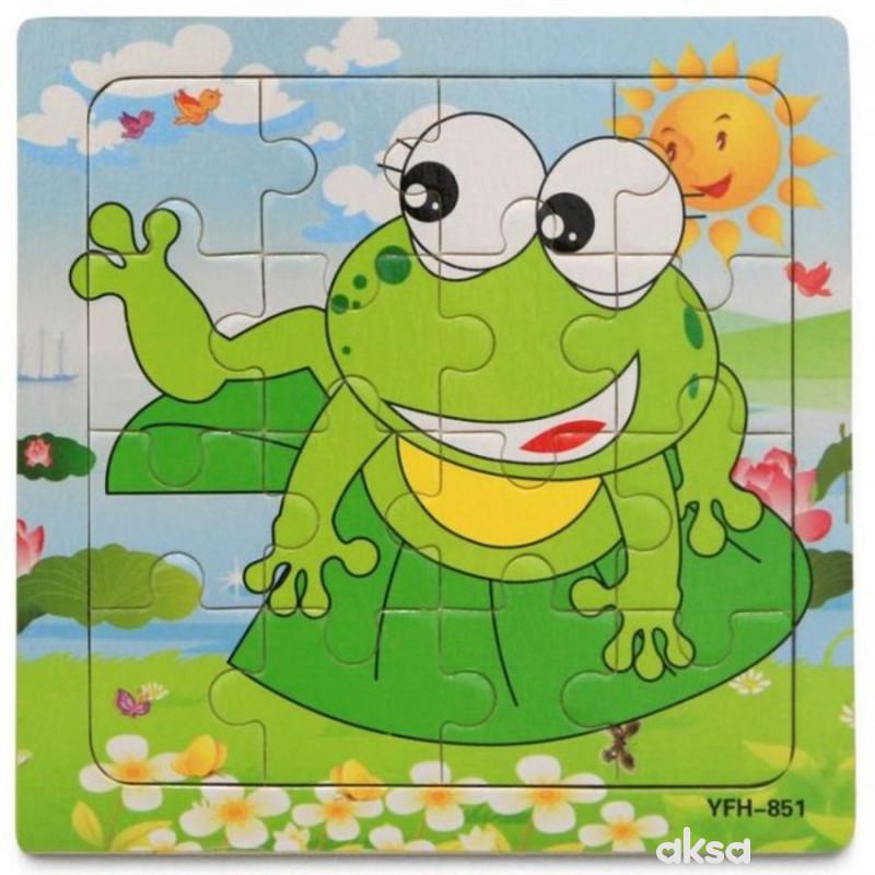 Hk Mini igračka drvena slagalica, žaba, 15x15