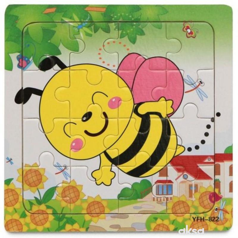 Hk Mini igračka drvena slagalica, pčelica 15x15