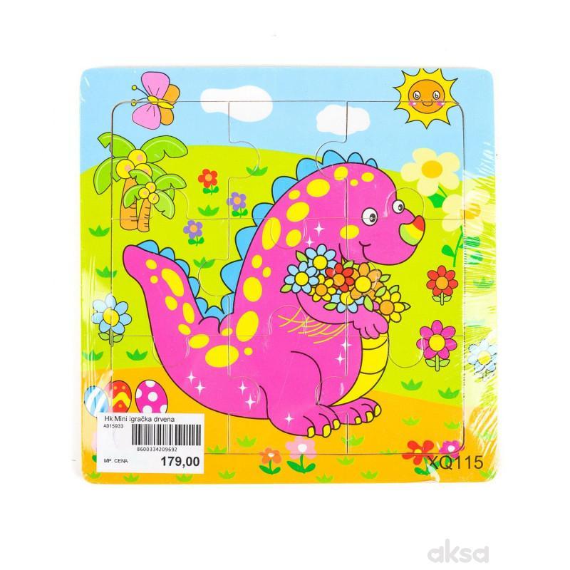 Hk Mini igračka drvena slagalica, dinosaurs 15x15