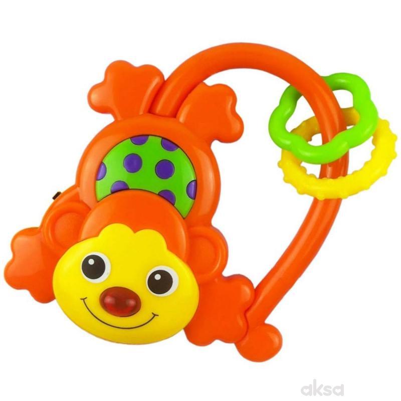 Baby Mix zvečka muzička Majmun-narandžasta