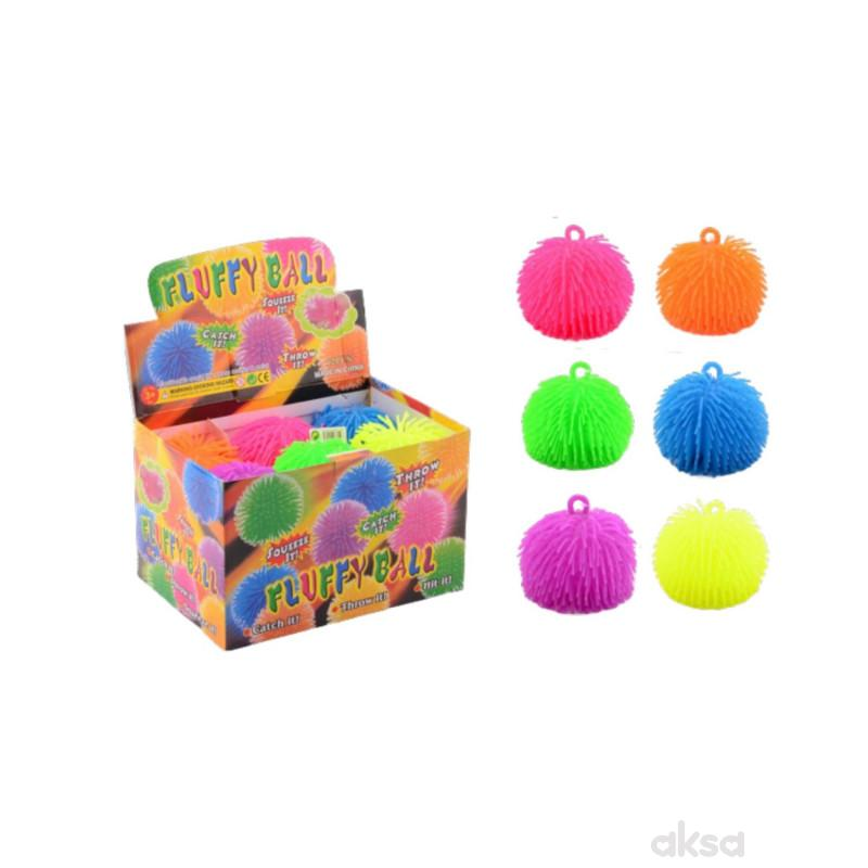 Lopta cupava Fluffy ball 15cm 6ass display 12pcs