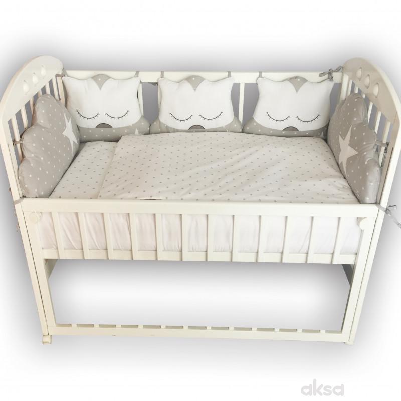 Lillo&Pippo punjena posteljina Sova siva