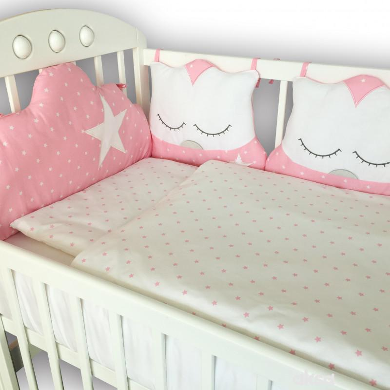 Lillo&Pippo punjena posteljina Sova roze