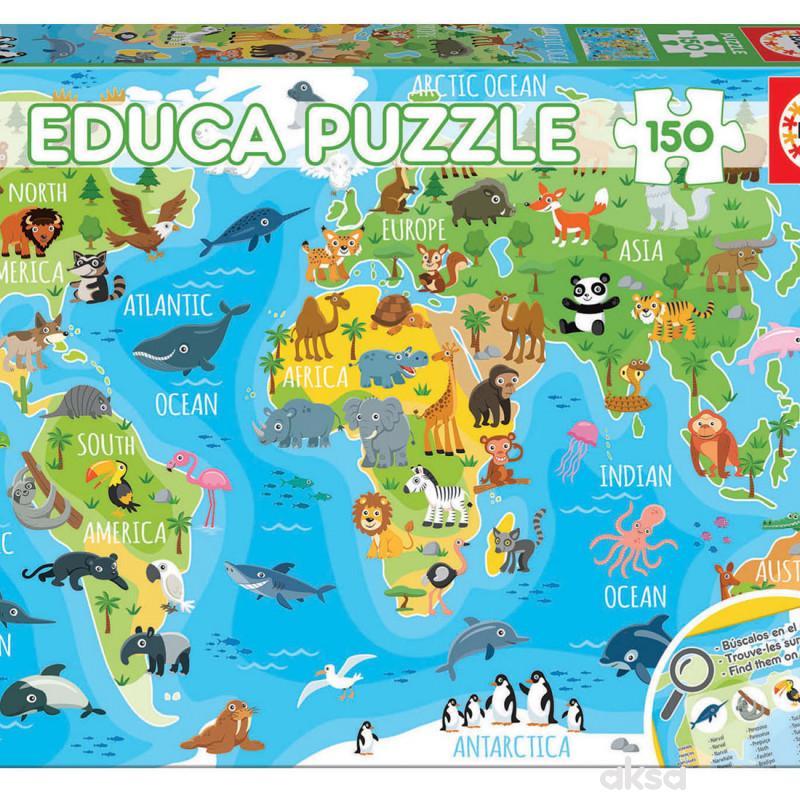 Educa slagalica životinjska mapa sveta 150 delova