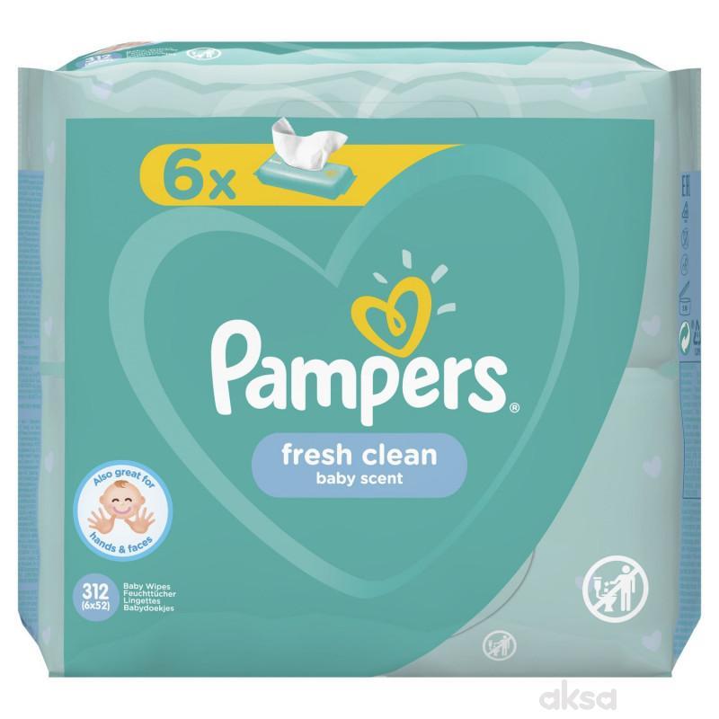 Pampers baby vlažne maramice fresh 6x52kom