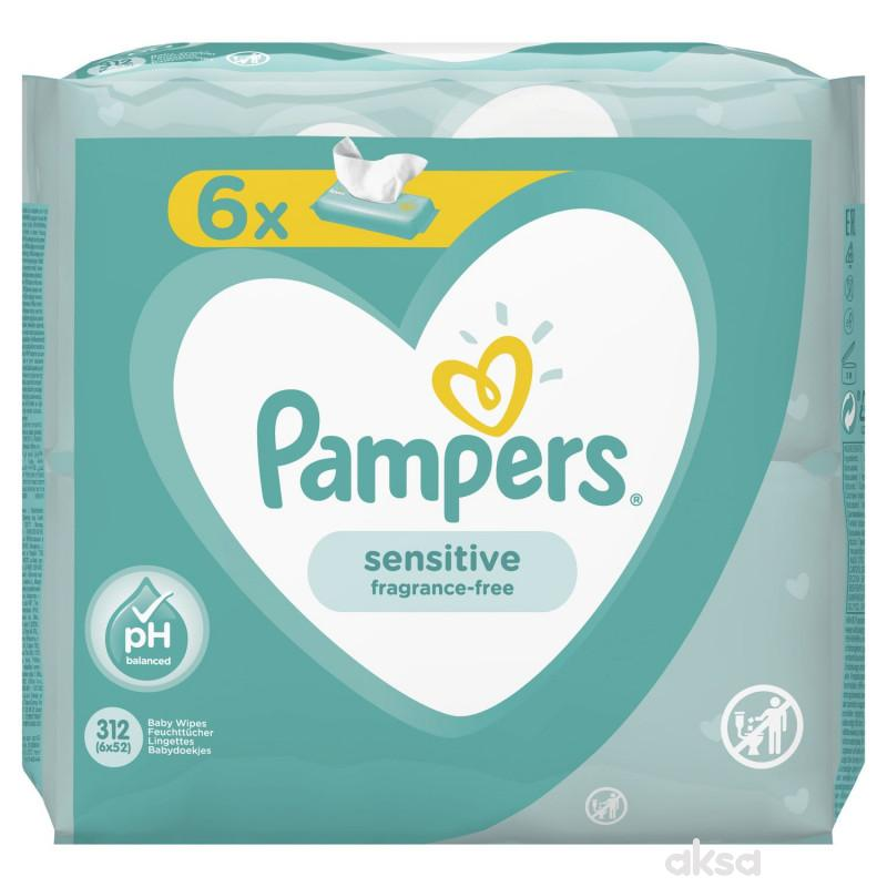 Pampers baby vlažne maramice sensitive 6x52kom