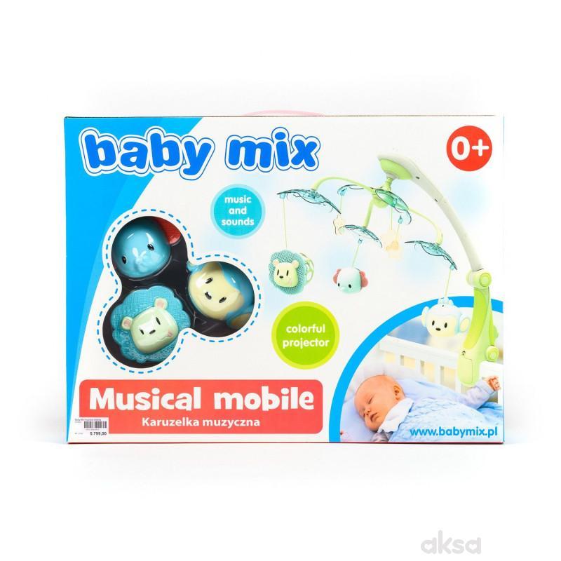 Baby Mix muzicka vrteška vesele životinjice zelena
