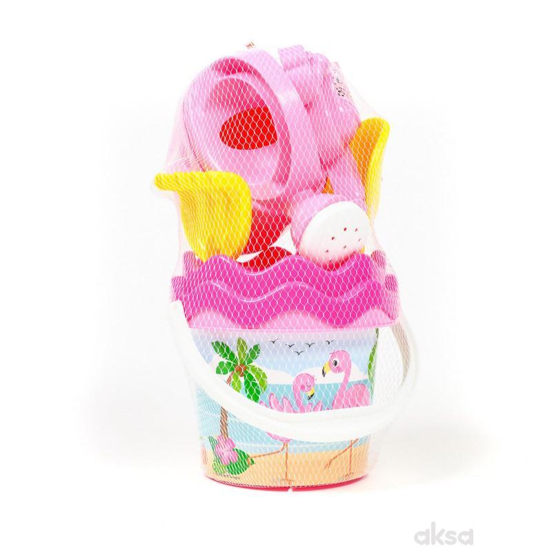 Androni Giocattoli kofica za pesak set flamingos