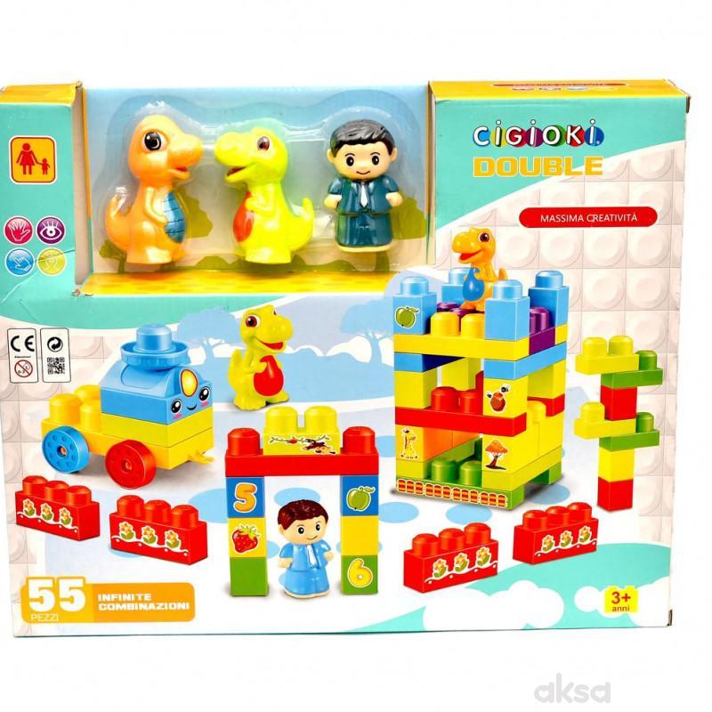 Cigioki kocke za decu -set 55/1 sa dinosaurusima