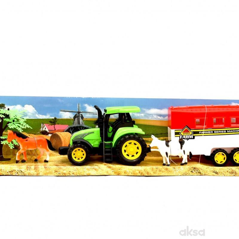 Cigioki traktor sa prikolicom I zivotinjama 52cm