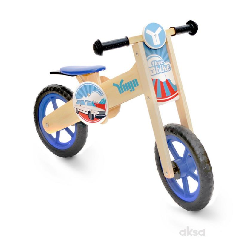 Yugo Wooden Balance Bike Blue