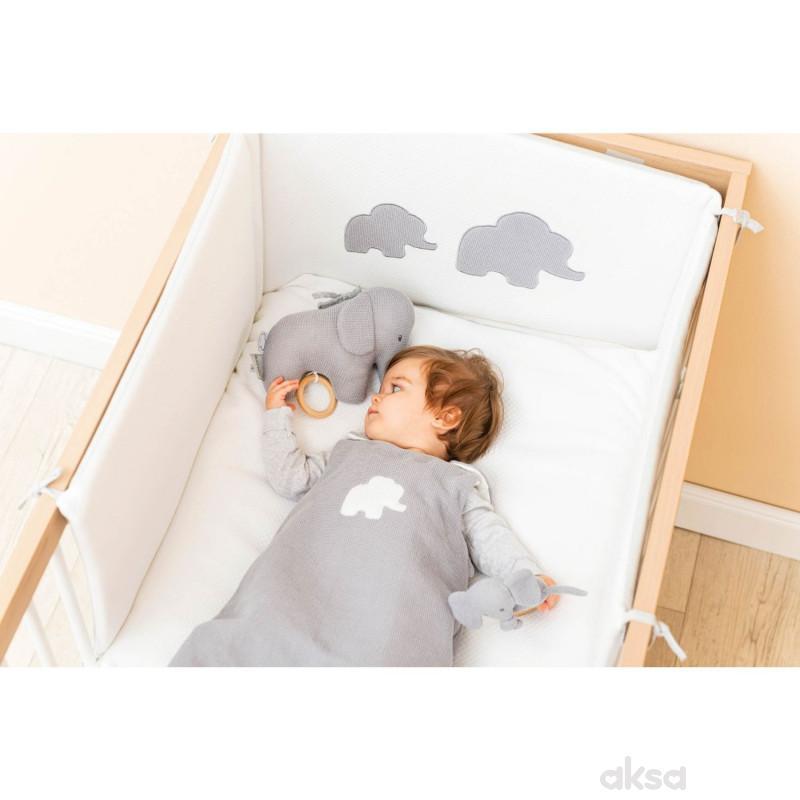 Nattou pletena muzička igračka slonče, siva