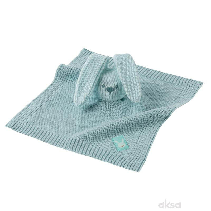 Nattou igračka pleteno ćebe sa likom zeke, mint